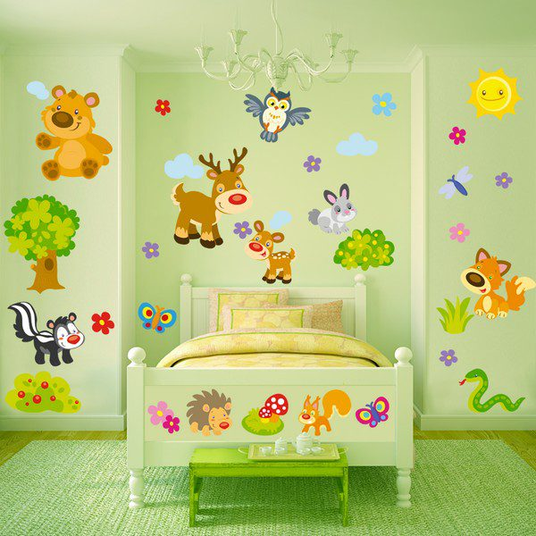 Adesivi Murali Animali Per Bambini.Gli Animali Della Foresta Sticasa Adesivi Murali Wall Stickers