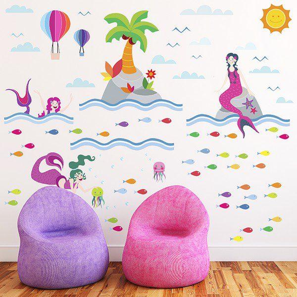 Adesivo Murale per Bambini L'Isola Delle Sirene