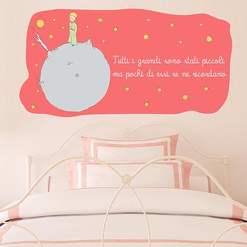 Adesivo Murale Piccolo Principe Tutti i grandi sono stati piccoli colore Salmone