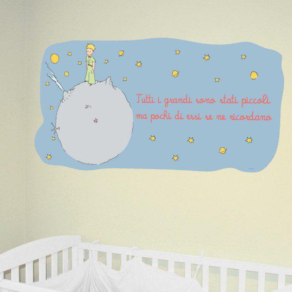 adesivo murale piccolo principe Tutti i grandi sono stati piccoli colore Azzurro