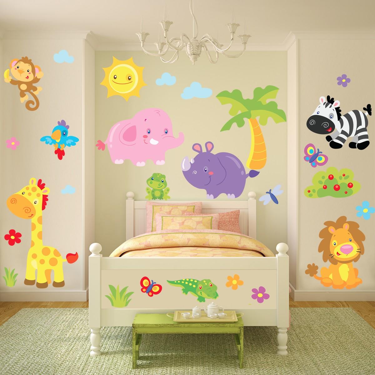 La giungla divertente sticasa adesivi murali wall for Carta muro lavabile adesiva